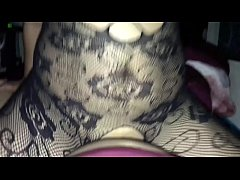 Tattooed wife in bodystocking getting pounded