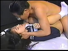 Young girl swallowing spit of an ugly old man  3