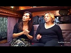 Angie George and Anabel Moon in the van