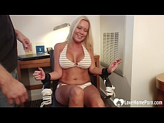 Busty blonde girlfriend gets bound and tickled