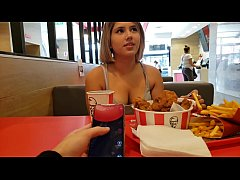 KFC public lush control and creampie in the bat...