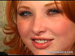 Naughty redhead pleasuring her man