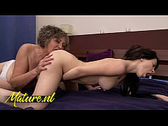 Hot Granny Gets Her Hairy Pussy Eaten By a Shy Teen