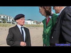 Uniformed milf spitroasted by old guy in trio