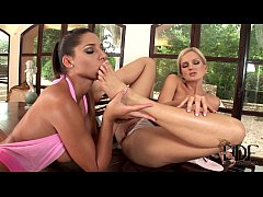 Exquisite lesbos licking and sucking their feet...