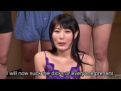 Subtitled Japanese gokkun swallowing party with...