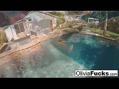 Olivia Austin in the pool