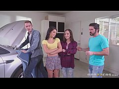 Brazzers - Step sisters share cock behind dads ...