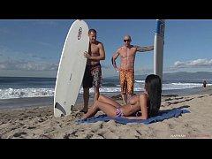 Horny French Busty Beachgoer Anissa Kate DPed a...