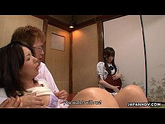 Asian housekeeper getting banged with a girl in...