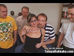 Glasses Slut Gangbang Swallower Party
