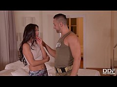 Soldier & husband double penetrate horny wife A...