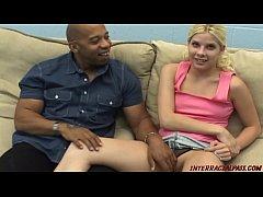 Pale white girl takes huge black cock