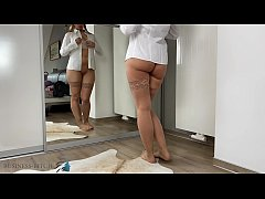 business woman tries different panties, Busines...