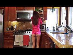 Helping my naked stepdaughter in the kitchen