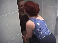 Russian Mom and son in bathroom