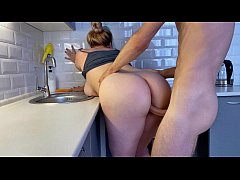Hot blonde step-sister fucks while washing dish...