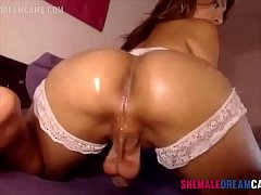 Tranny Wanks Her Big Dick - ShemaleDreamCams.com