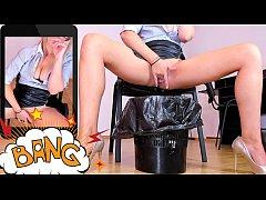 Blonde secretary MILF masturbating and squirtin...