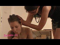 Zuzinka teaches a girl how to do hard BJ