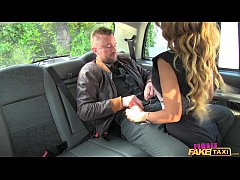 Female Fake Taxi Messy facial for busty driver