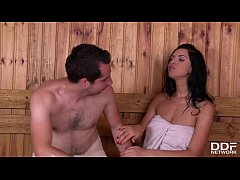 Sensual pussy licking in the sauna with Nicole ...
