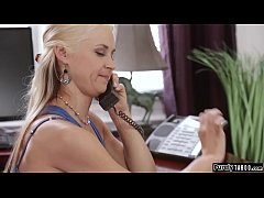 Milfs on the phone while stepsons licks