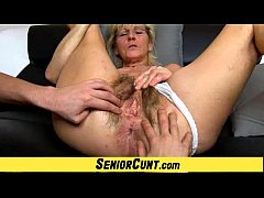 Hairy old pussy close-ups and fingering with gr...