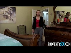 PropertySex - Hot blonde MILF landlady fucks he...