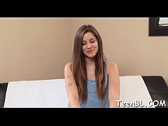 Charming teen is rubbing her slit before giving...