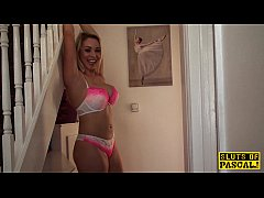 Tied up blonde surprise