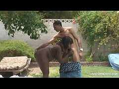 Horny black chick is pleasuring her man passioa...