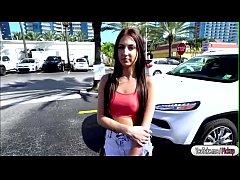 Aubrey Rose sucks cock in public for cash