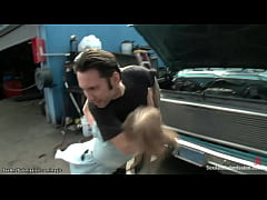 Insane mechanic anal fucks bound blonde
