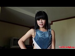 HELLOLADYBOY Petite Asian Ladyboy Spits on Big Dick