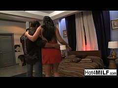 Blindfolded brunette gets surprised with a thre...