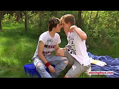young shaving boys outdoor