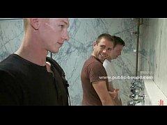 Gay boy in rest room gangbang sex