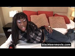 Ebony teen amateur fucking white boy in Black H...