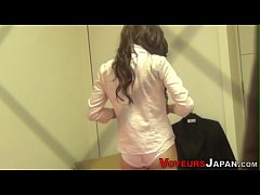 Skinny asian spied toying