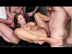 Big tits hottie in bdsm gangbanged