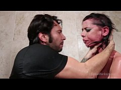 Brandi Aniston roughly face-fucked in the shower
