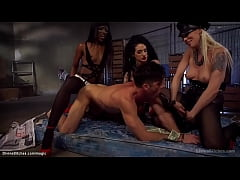 Dominant sluts pegging submissive man