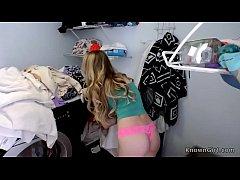 Natural busty teen fucks at laundry
