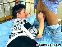Chubby Granny Takes Young Cock