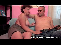 Chubby grandma enjoys his cock in her mouth and...