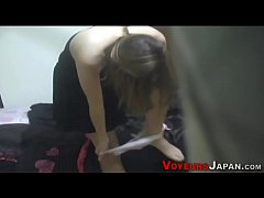 Japanese babe rubs vag