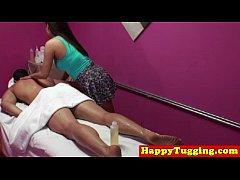 cumshot handjob  at massage session