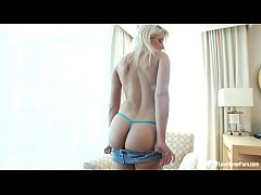 Big booty blonde teases in blue lingerie