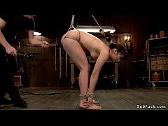 Japanese slave in red tights on hogtie